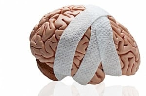 brain with bandage