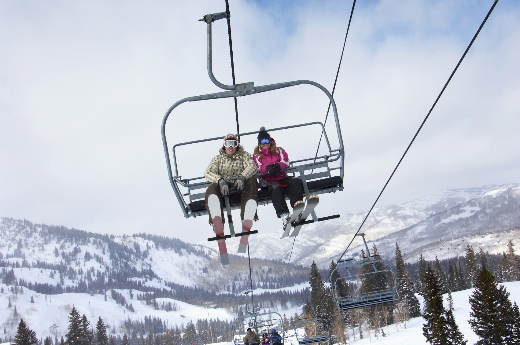 Young Couple on the Chair Lift